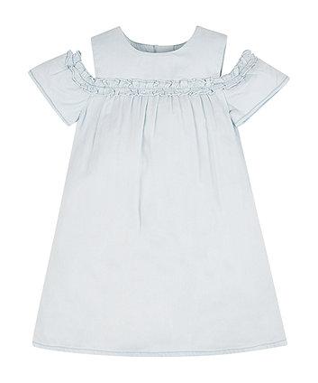 Mothercare Bleach Wash Denim Cold Shoulder Dress