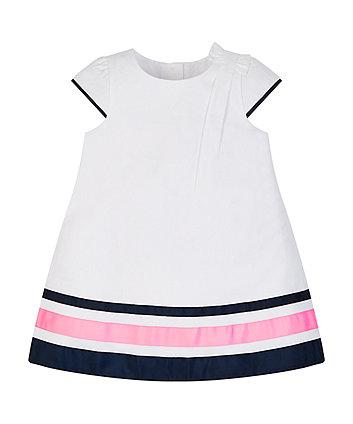 Mothercare White Pique Striped Hem Dress