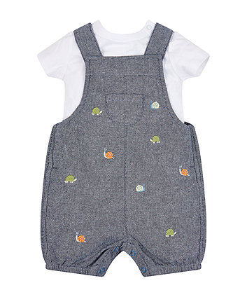 Mothercare Chambray Bibshorts And Bodysuit Set
