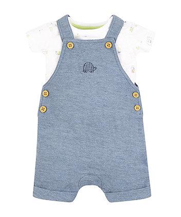 Mothercare Blue Marl Bibshorts And Bodysuit Set
