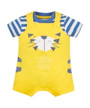 Mothercare Yellow Tiger Bibshorts And Bodysuit Set