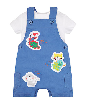 Mothercare Blue Bibshorts And Bodysuit Set