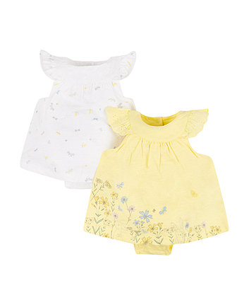 Mothercare Broderie Romper Dress - 2 Pack