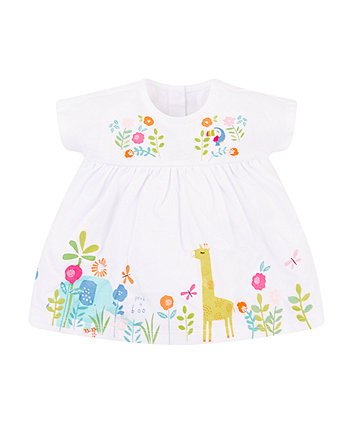 Mothercare Embroidered And Border Print Romper Dress