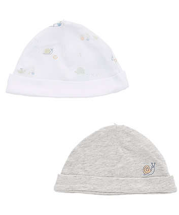 Mothercare Grey And White Garden Hats - 2 Pack