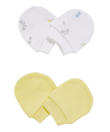 Mothercare Yellow And White Butterfly Scratch Mitts - 2 Pack