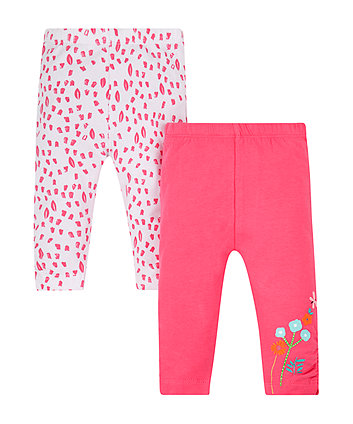 Mothercare Pink Floral Leggings - 2 Pack