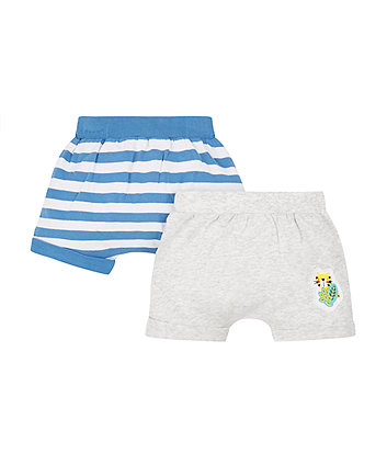 Mothercare Grey And Blue Stripe Shorts - 2 Pack