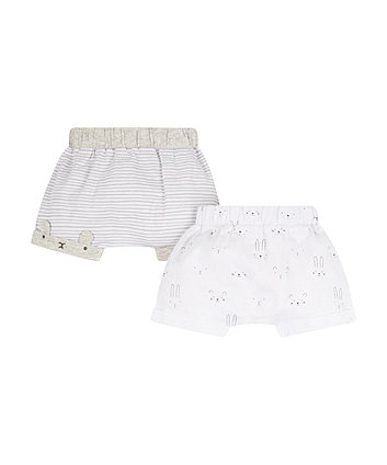 Grey And White Bunny Shorts - 2 Pack