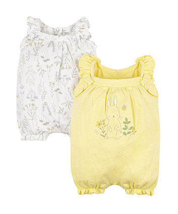 Garden Bunny Frill Rompers - 2 Pack
