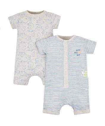 Mothercare Stripe Snail Rompers - 2 Pack