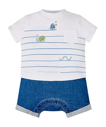 Stripe Bug Mock T-Shirt And Shorts Romper