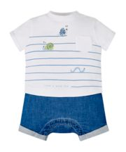Mothercare Stripe Bug Mock T-Shirt And Shorts Romper