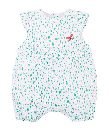 Mothercare White And Aqua Butterfly Romper