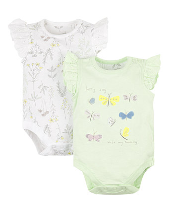 Mothercare Garden Butterfly Broderie Frill Bodysuits - 2 Pack