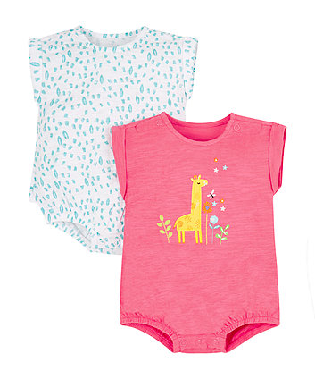 Mothercare Pink And Aqua Giraffe Bodysuit