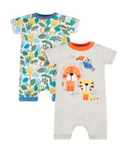 Mothercare Jungle Animal Rompers - 2 Pack