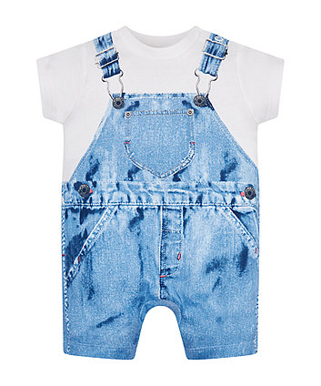 Mothercare Trompe L'Oeil Mock Dungarees Romper