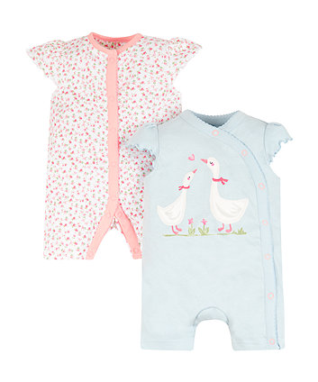 Mothercare Floral Geese Rompers - 2 Pack