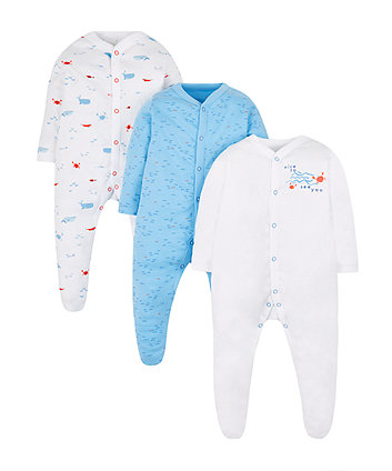 Seaside Sleepsuits - 3 Pack