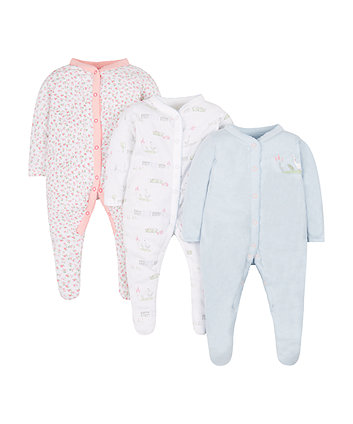 Mothercare Floral Geese Sleepsuits - 3 Pack