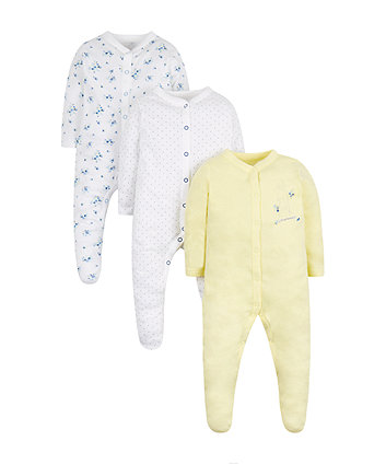 Floral And Bunny Sleepsuits - 3 Pack