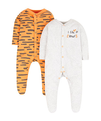 Mothercare Little Tiger Sleepsuits - 2 Pack