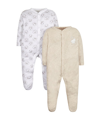 Mothercare Little Animal Sleepsuits - 2 Pack