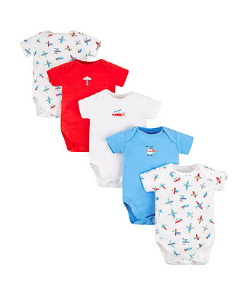 Mothercare Planes Bodysuits - 5 Pack