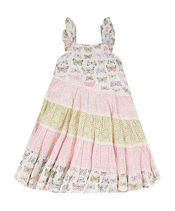 Mothercare Butterfly And Broderie Patchwork Tiered Dress
