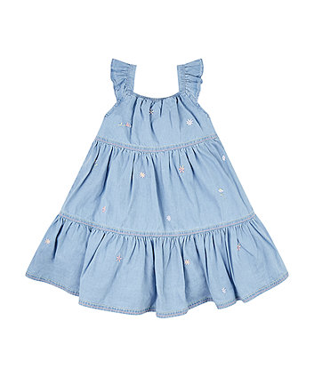 Mothercare Denim Tiered Embroidered Dress