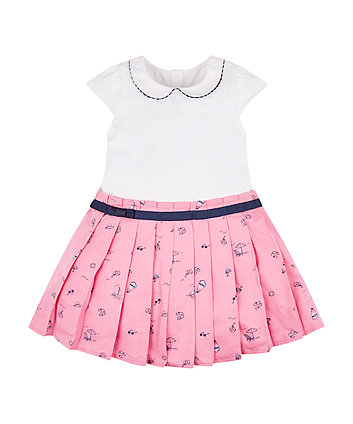 Mothercare Pink Pleated Skirt Twofer Dress