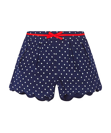 Mothercare Navy Floral Scallop Shorts