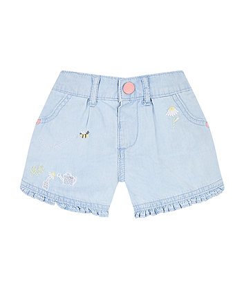 Mothercare Garden Frill Denim Shorts