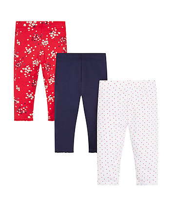 Mothercare Floral, Navy And Spot Leggings - 3 Pack