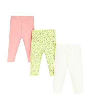 Green Floral Leggings - 3 Pack
