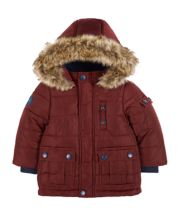 Burgundy Padded Faux Fur Hood Jacket