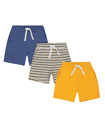 Mothercare Blue, Yellow And Striped Shorts - 3 Pack