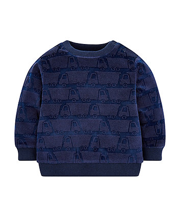 Navy Velour Truck Sweat Top