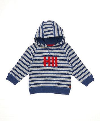 Blue And Grey Stripe Hoodie