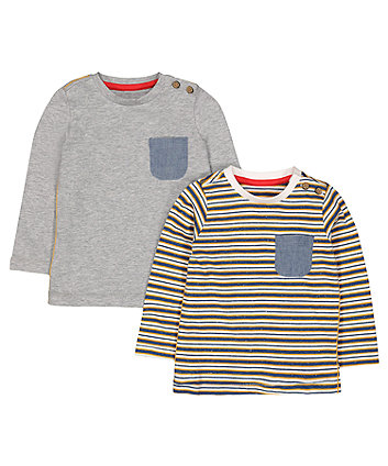 Mothercare Denim Pocket Stripe T-Shirts - 2 Pack
