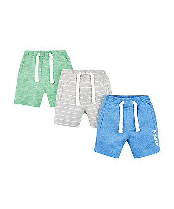 Grey, Green And Blue Shorts