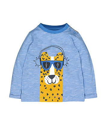 Mothercare Blue Striped Leopard T-Shirt