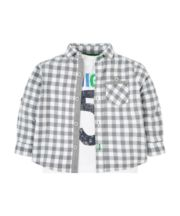 Grey Checked Shirt And High 5 T-Shirt Set