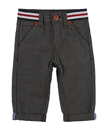 Grey Herringbone Chino Trousers