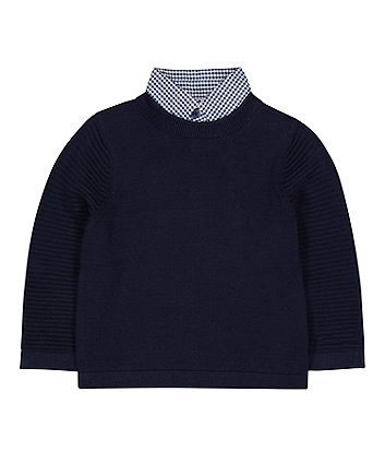 Navy Knit Jumper With Check Collar