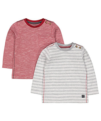 Red And Grey Stripe T-Shirts - 2 Pack