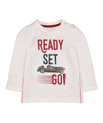 Mothercare Cream Ready Set Go T-Shirt