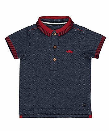 Dark Blue Pique Polo Shirt