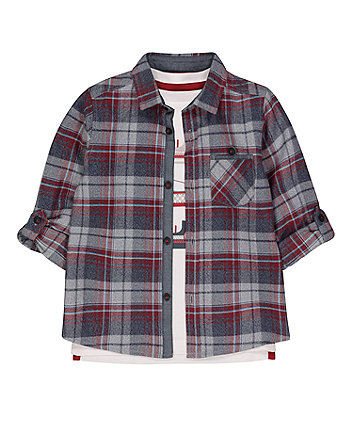 Mothercare Burgundy And Grey Checked Shirt And T-Shirt Set